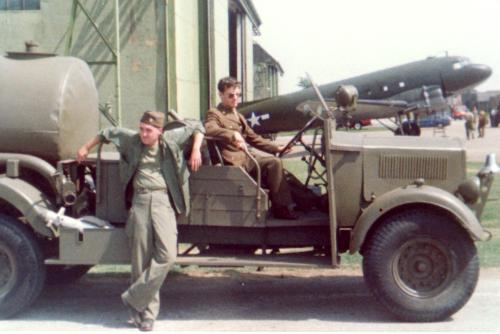 Sitting in a WWII Jeep,  with Malcolm Roberts on the set of  'Memphis Belle',1989